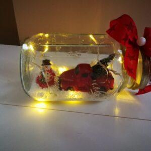 Adventi dekoráció ballos üvegben