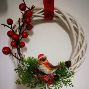 Karácsonyi ajtókopogtató madárkás