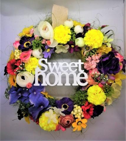 """Színkavalkád ajtókopogtató """"Sweet Home"""" felirattal"""